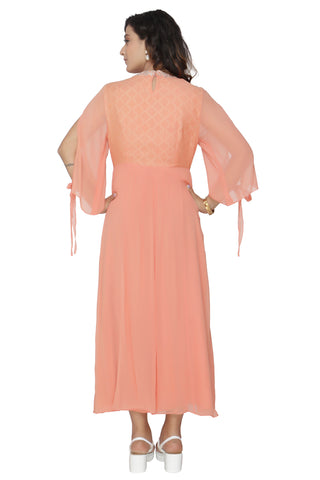 Coral Tunic With Bell Sleeves