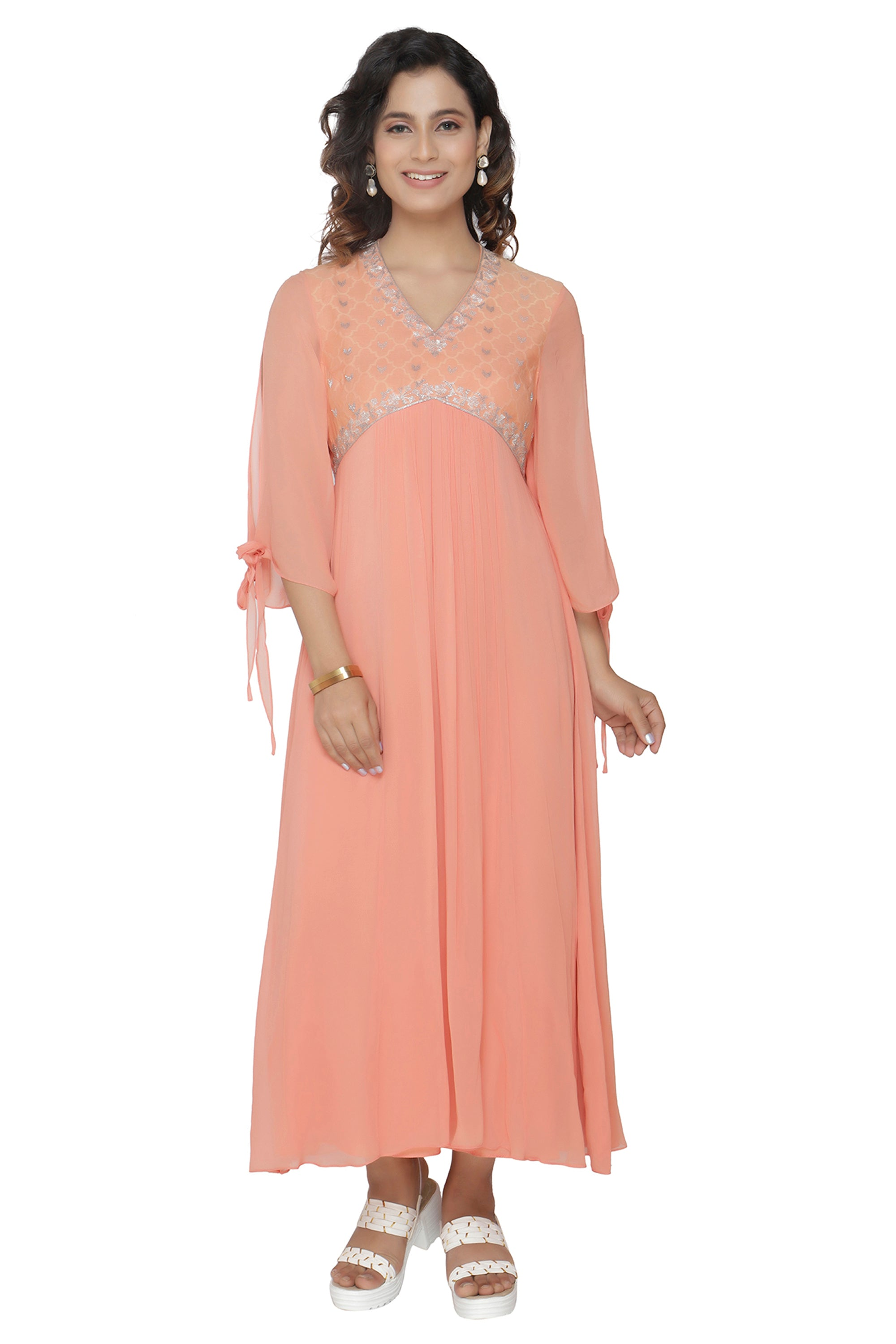Peach Tunic With Bell Sleeves FRONT