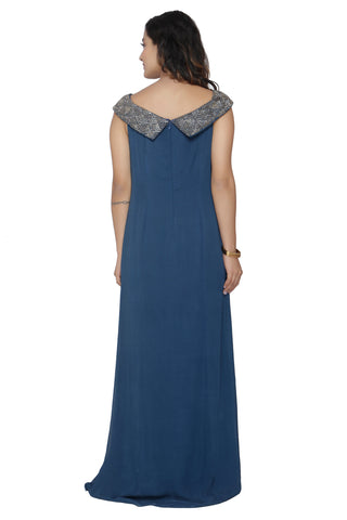 Deep Blue Off Shoulder  Gown