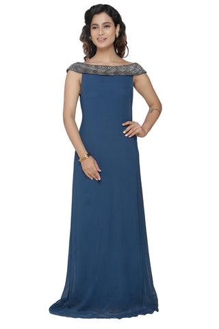 Deep Blue Off Shoulder  Gown FRONT