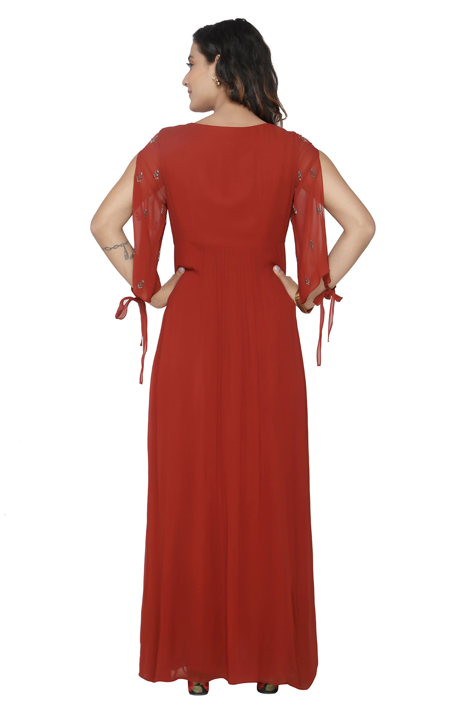 Maroon Gown With Flared Sleeves BACK