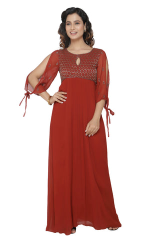 Maroon Gown With Flared Sleeves FRONT