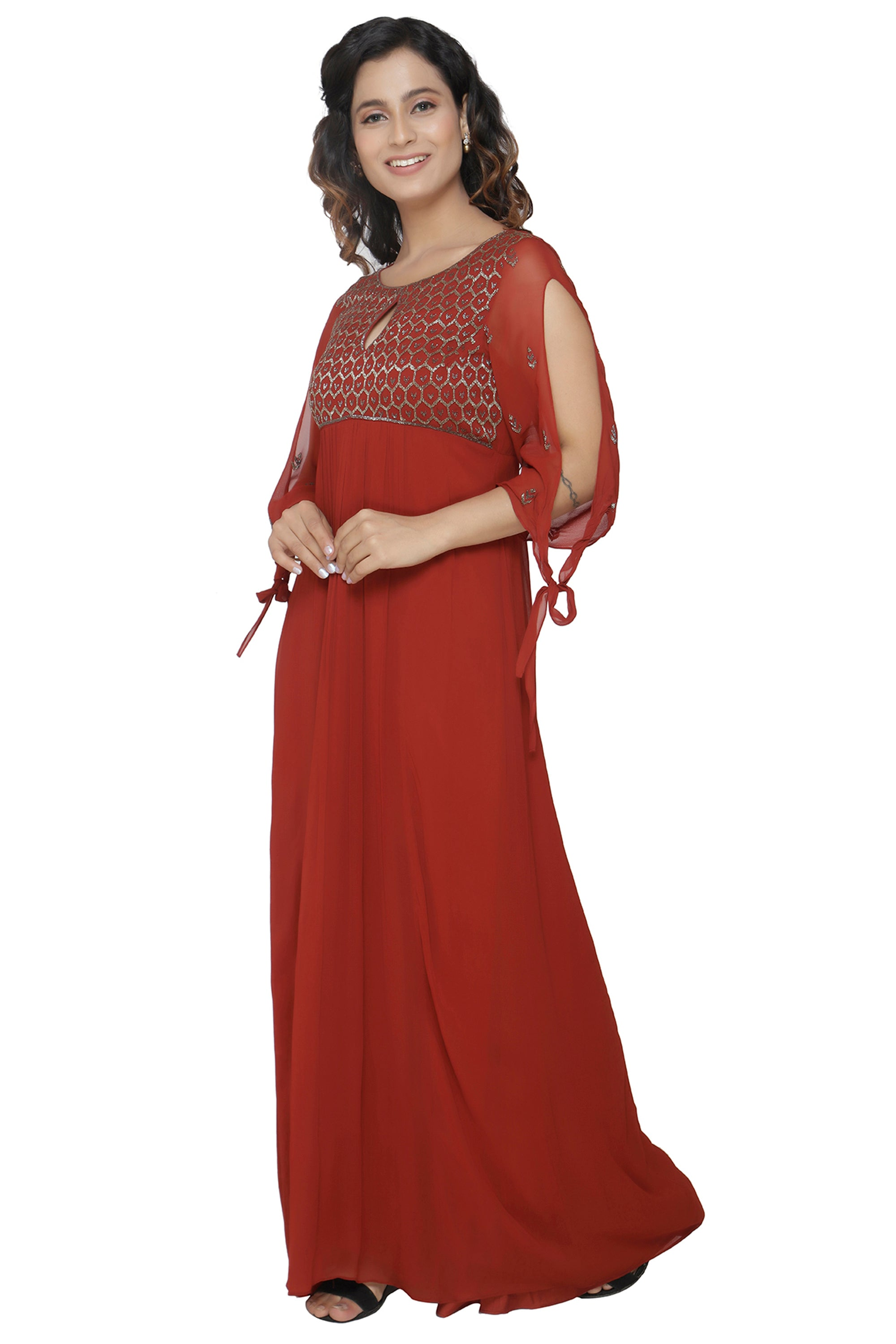 Maroon Gown With Flared Sleeves SIDE