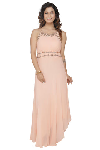 Nude Gown With Spagetti Straps FRONT