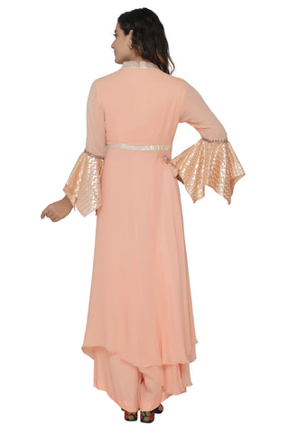 Light Peach Cowl Tunic Set With Peach Pant