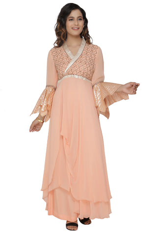 Light Peach Cowl Tunic Set With Peach Pant FRONT