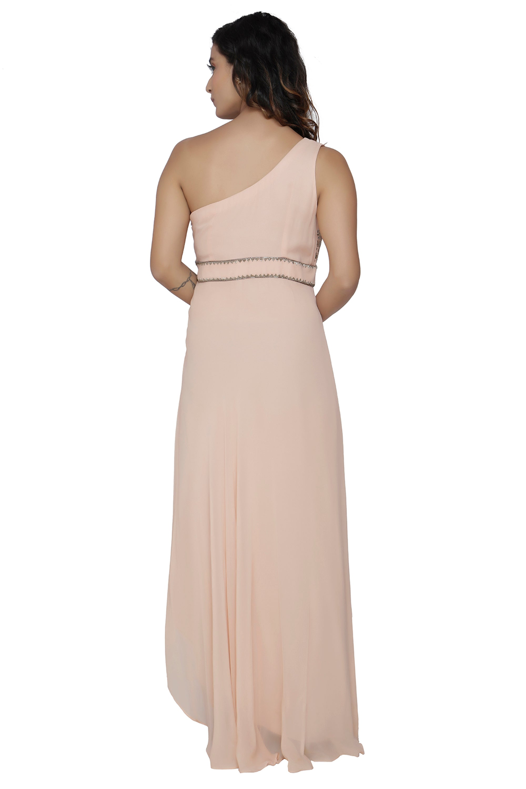 One Shoulder Nude Gown BACK
