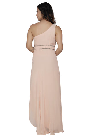 One Shoulder Nude Gown