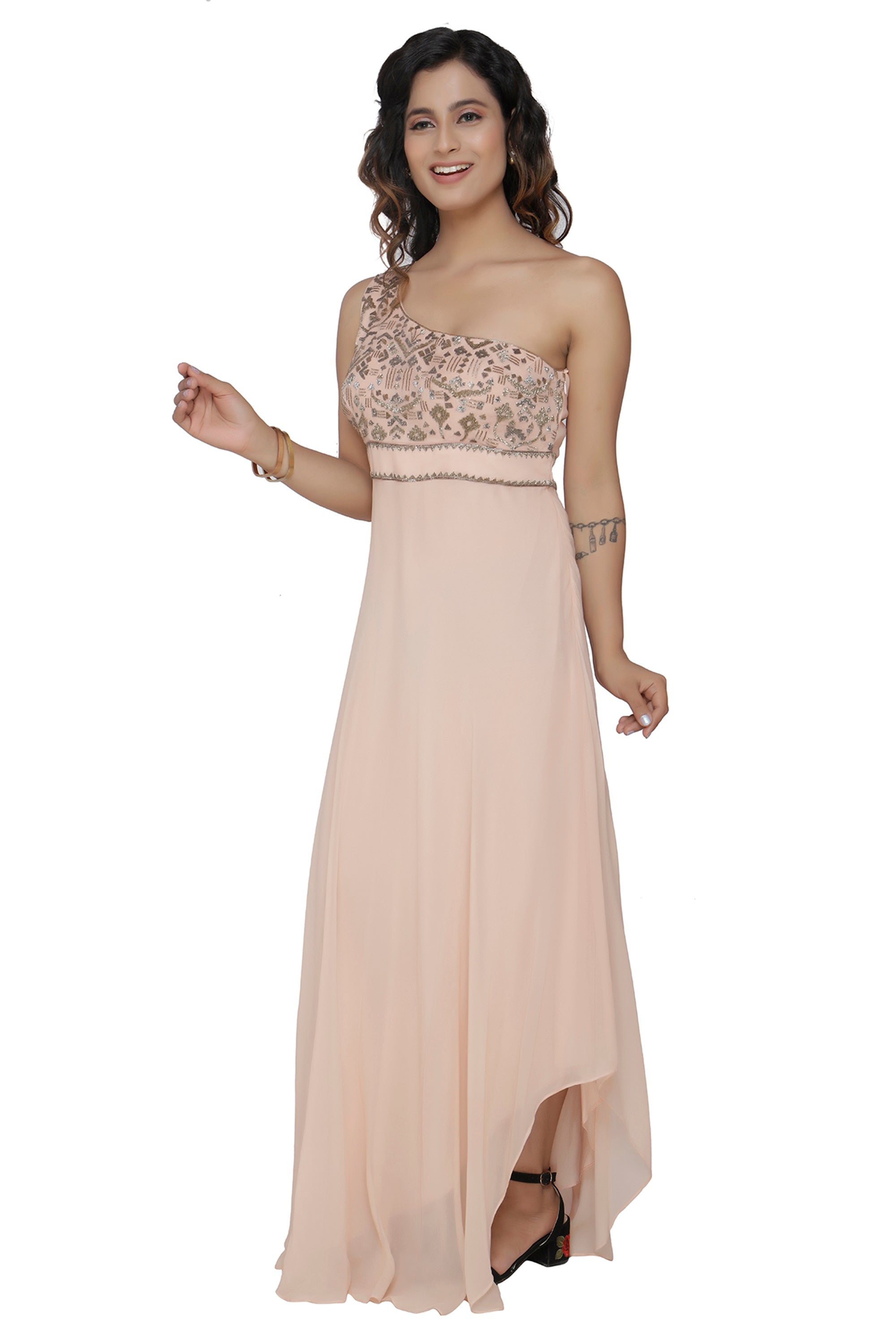 One Shoulder Nude Gown SIDE