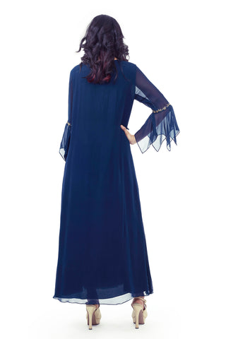 Navy Blue Cowl Dress