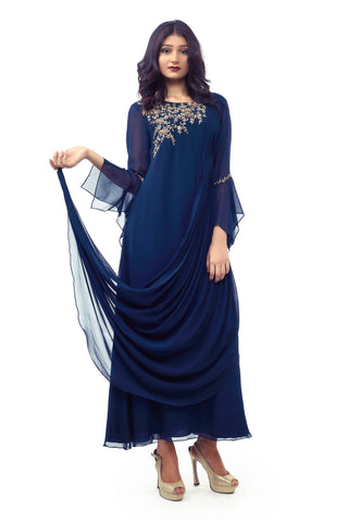 Navy Blue Cowl Dress FRONT