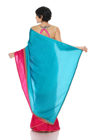 Aqua Blue & Pink Silk Saree