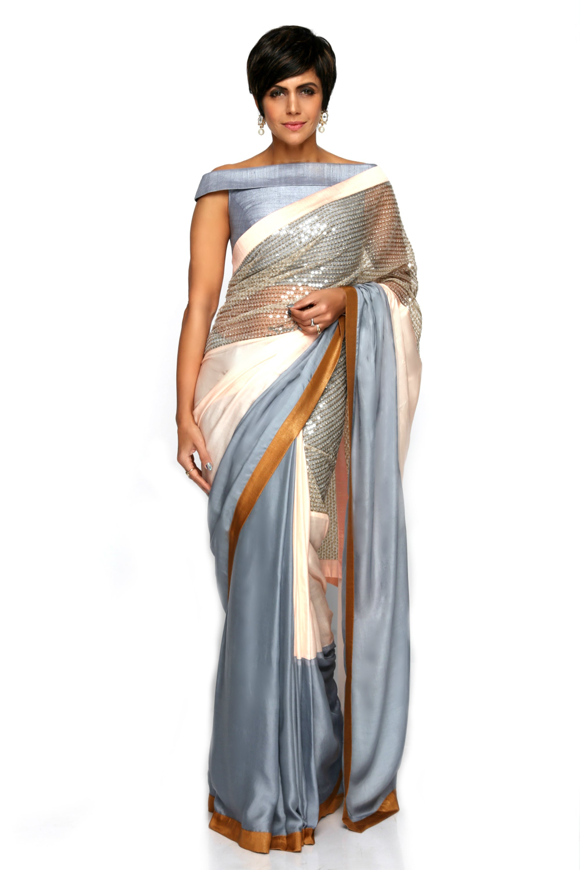 Light Pink & Grey Satin Saree FRONT