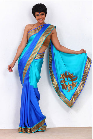 Satin Georgette Blue Saree Front