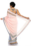 Light Pink & Grey Sequins Saree BACK