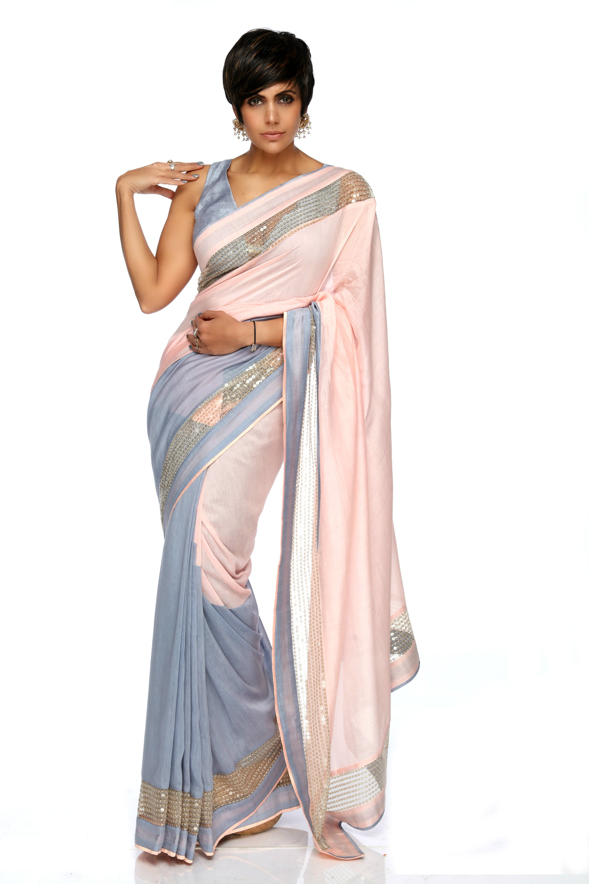 Light Pink & Grey Sequins Saree FRONT