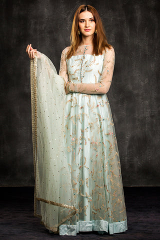 The Blue Aqua Mahira Anarkali Front