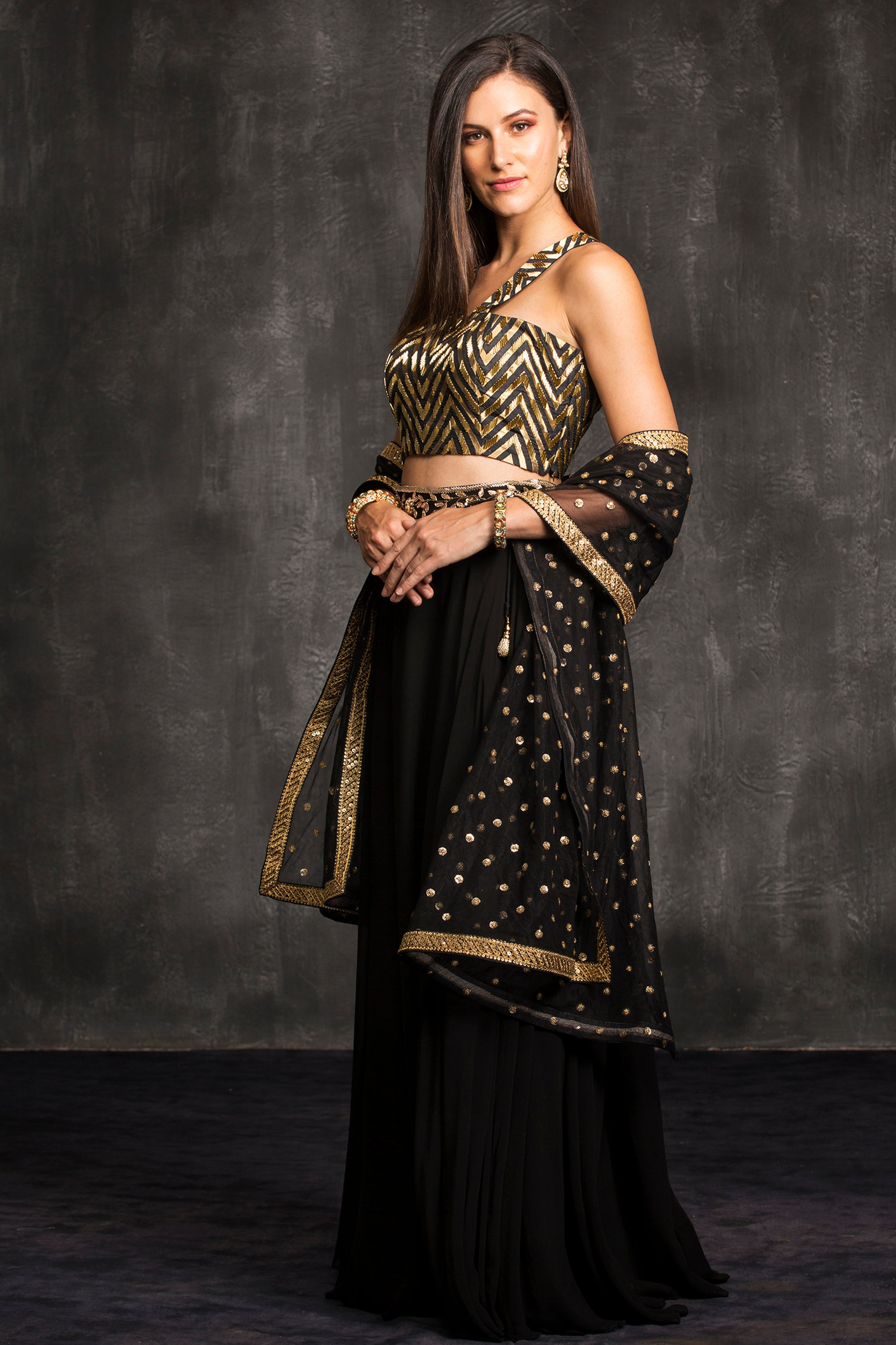 The Black Chevron Lehenga Set Side