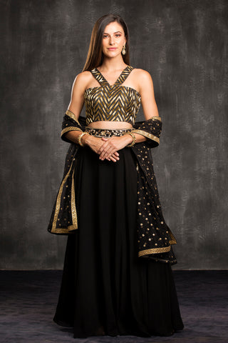 The Black Chevron Lehenga Set Front
