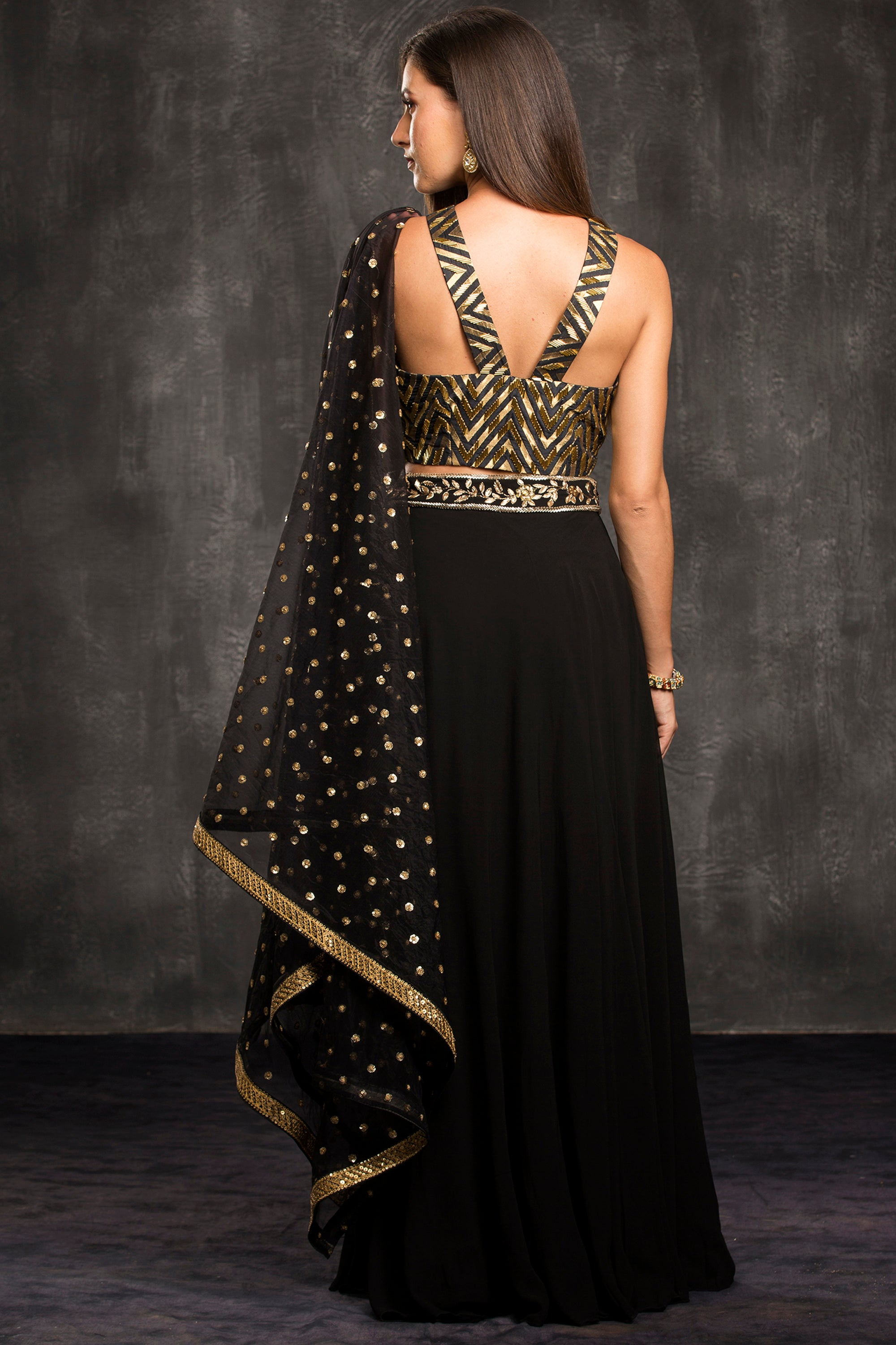 The Black Chevron Lehenga Set Back