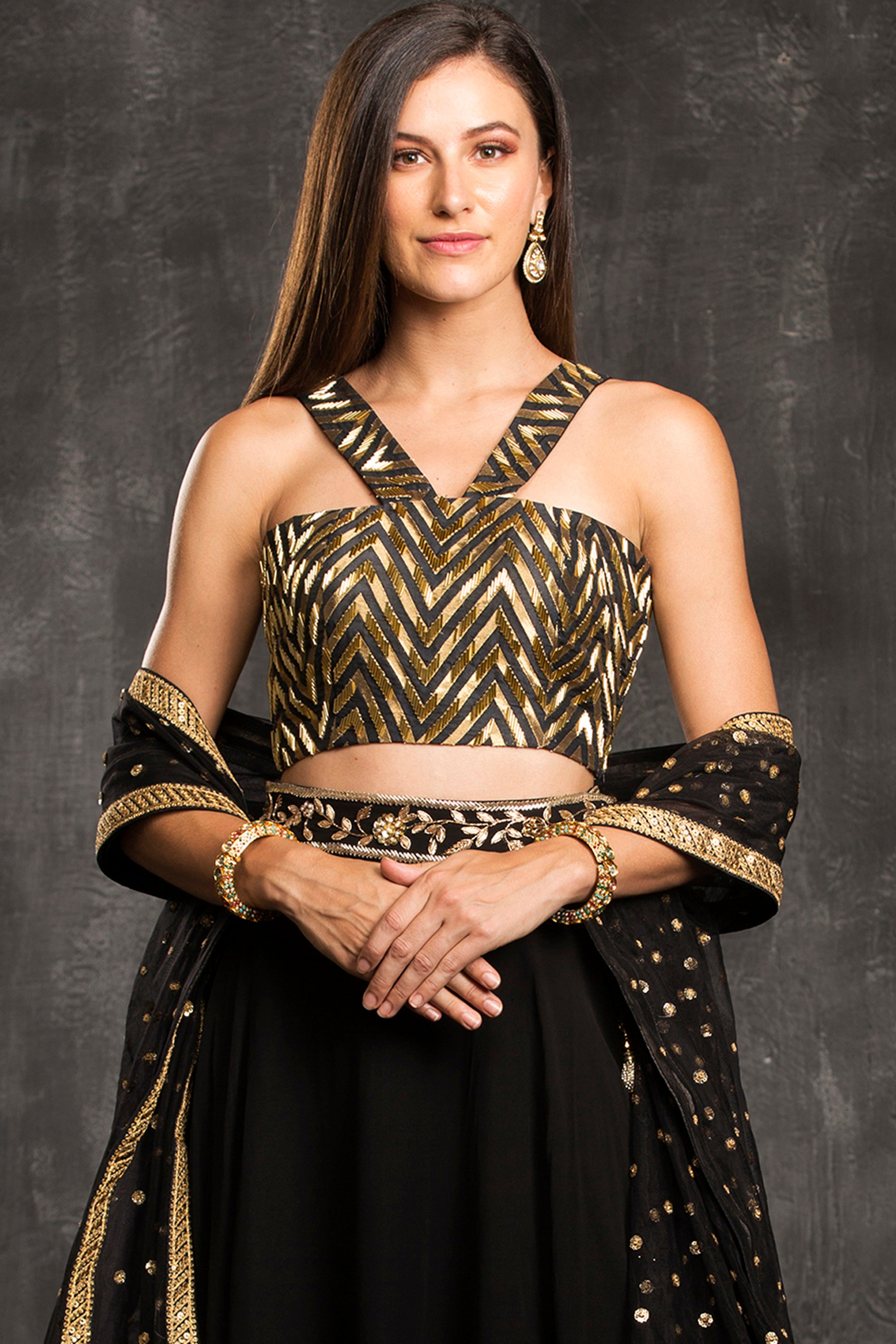 The Black Chevron Lehenga Set CloseUp