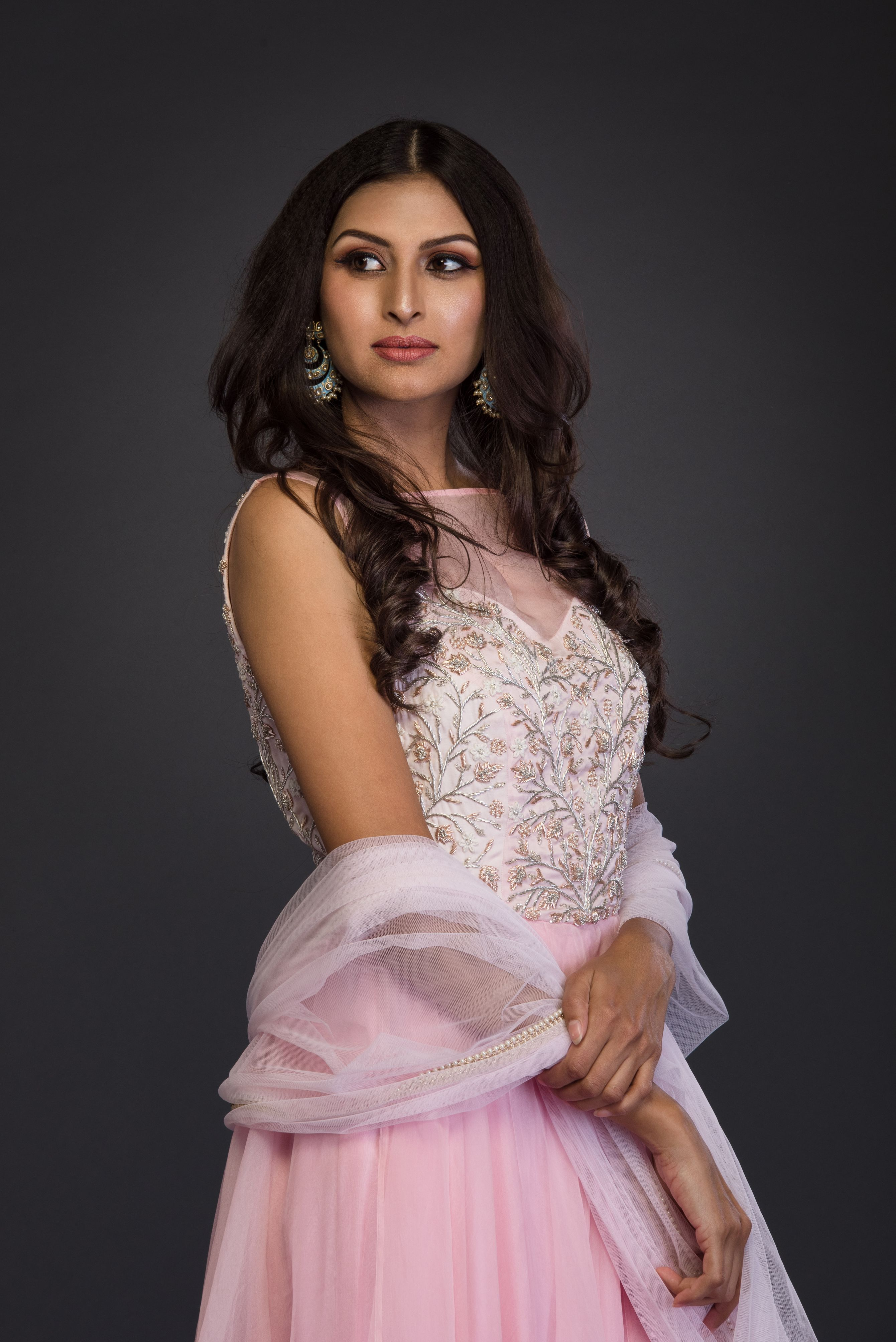 The Blush Pink Organza Anarkali CLOSE