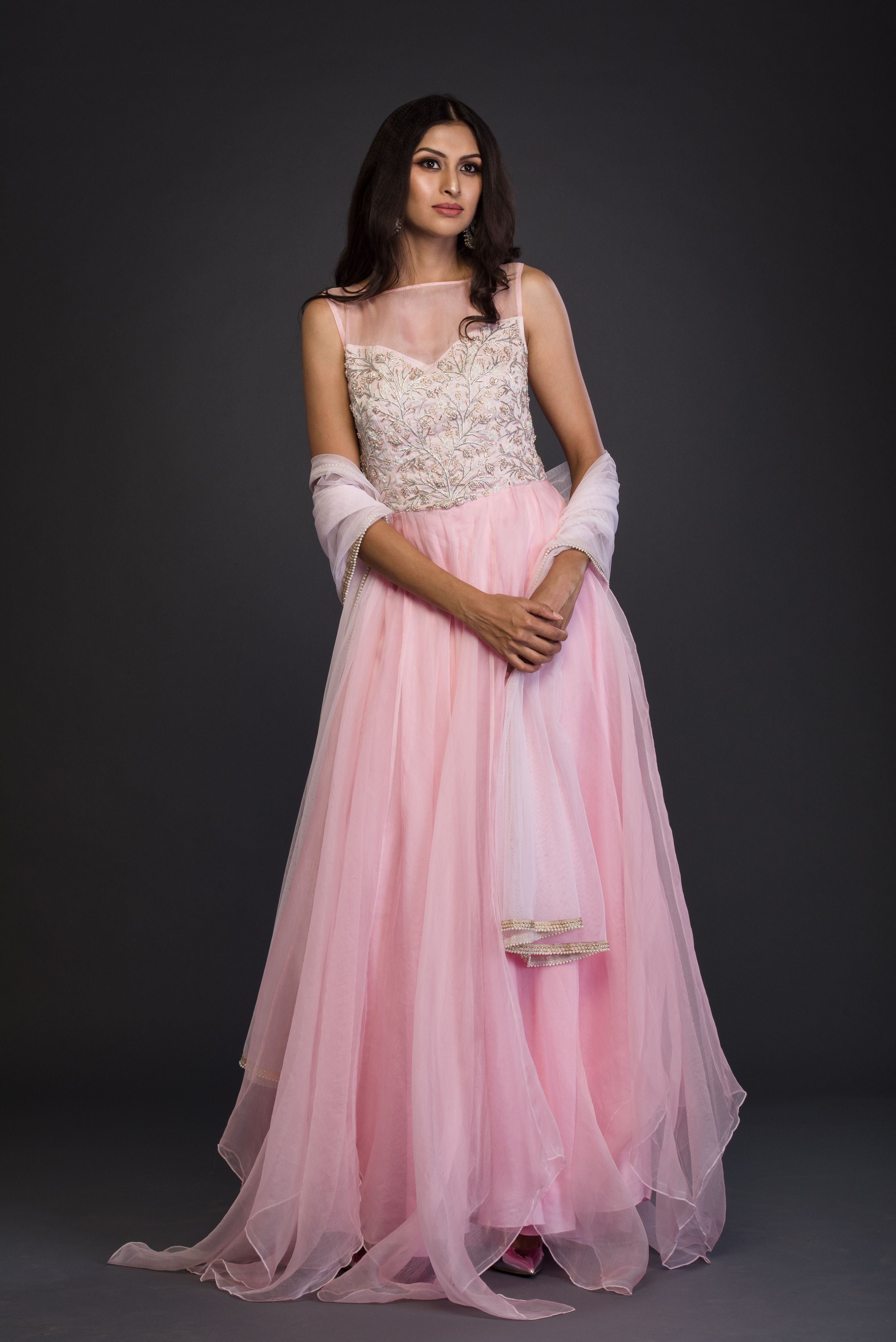 The Blush Pink Organza Anarkali FRONT