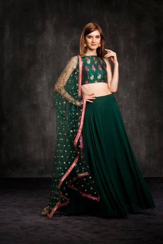 The Green Bouquet Lehenga Set