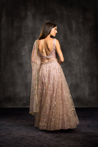 The Mauve Dusty Rose Mahira Lehenga Set