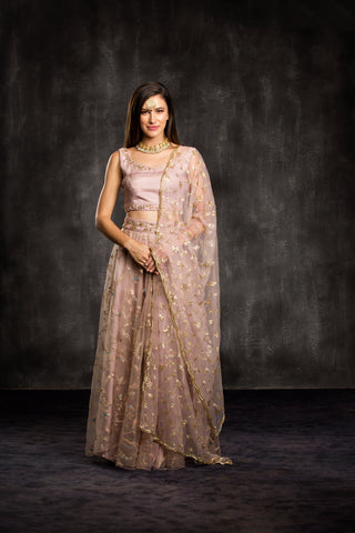 The Mauve Dusty Rose Mahira Lehenga Set Front