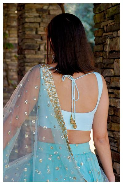 The Ice Blue Gypsy Lehenga Set BACK