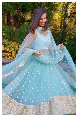 The Ice Blue Gypsy Lehenga Set FRONT