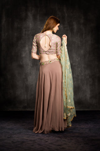 The Brown Frosted Garden Lehenga Set