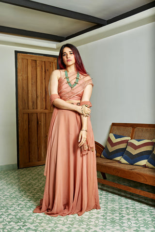 The Burnt Peach Karenina Lehenga Set FRONT