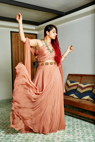 The Burnt Peach Karenina Lehenga Set