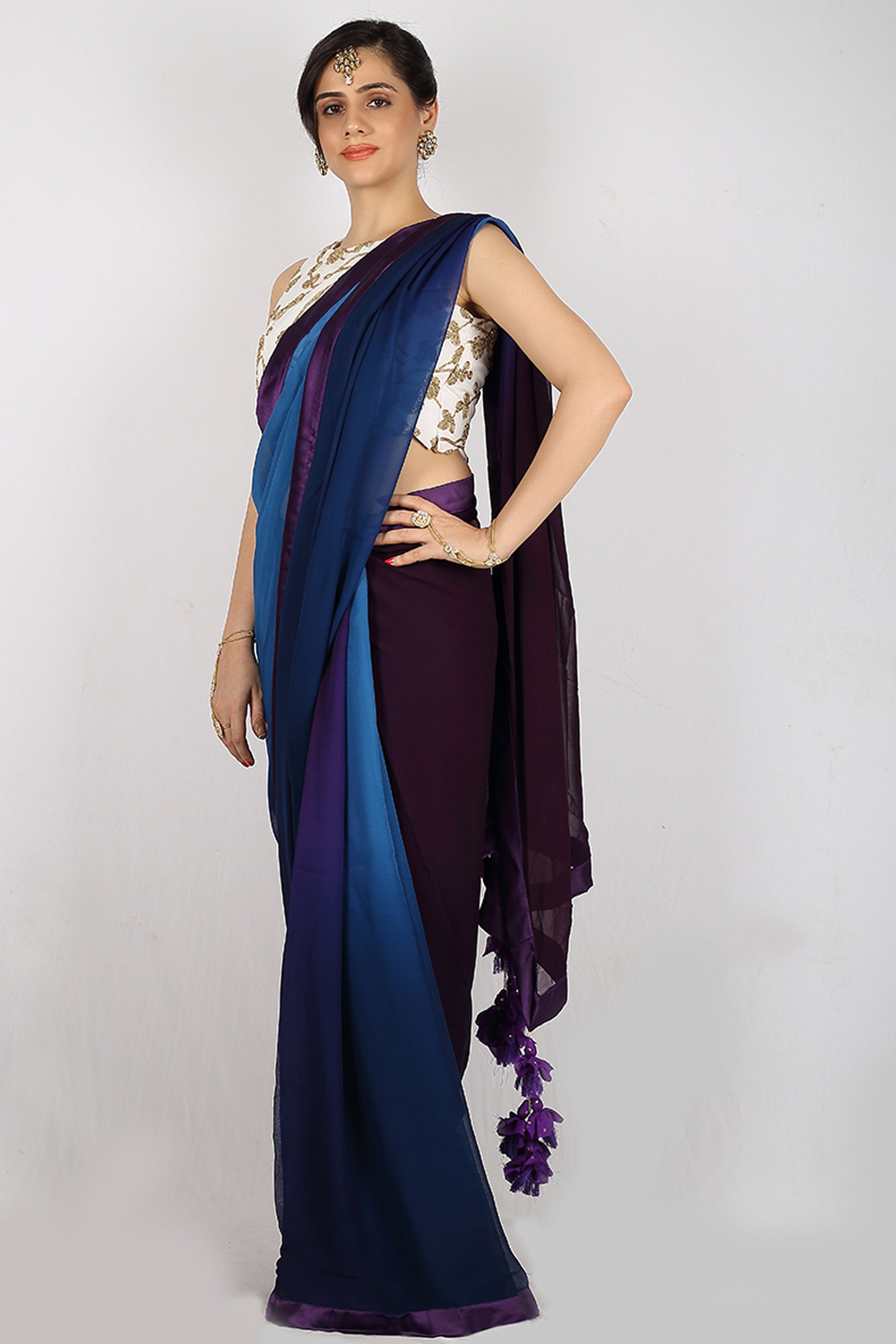 The Night Blue Ombré Saree