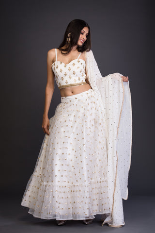 The Off-White Ruffled Jessica Lehenga Set FRONT