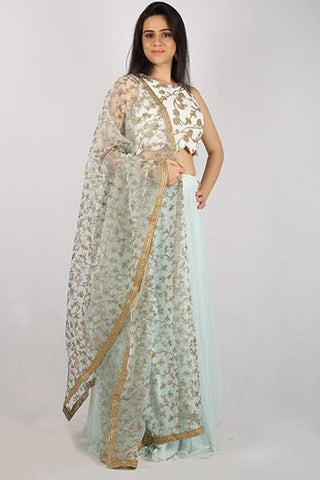 The Powder Blue Shoreline Lehenga