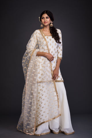 The White Nazakat Sharara Set FRONT