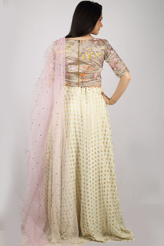 The Ivory & Wildflower Brocade Lehenga