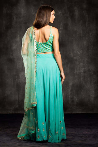 The Blue Turquoise Mia Mirror Lehenga Set
