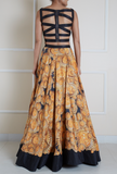 Sunflower Print Skirt and Crop Top Back