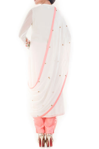Angel White & Peach Salwar Suit