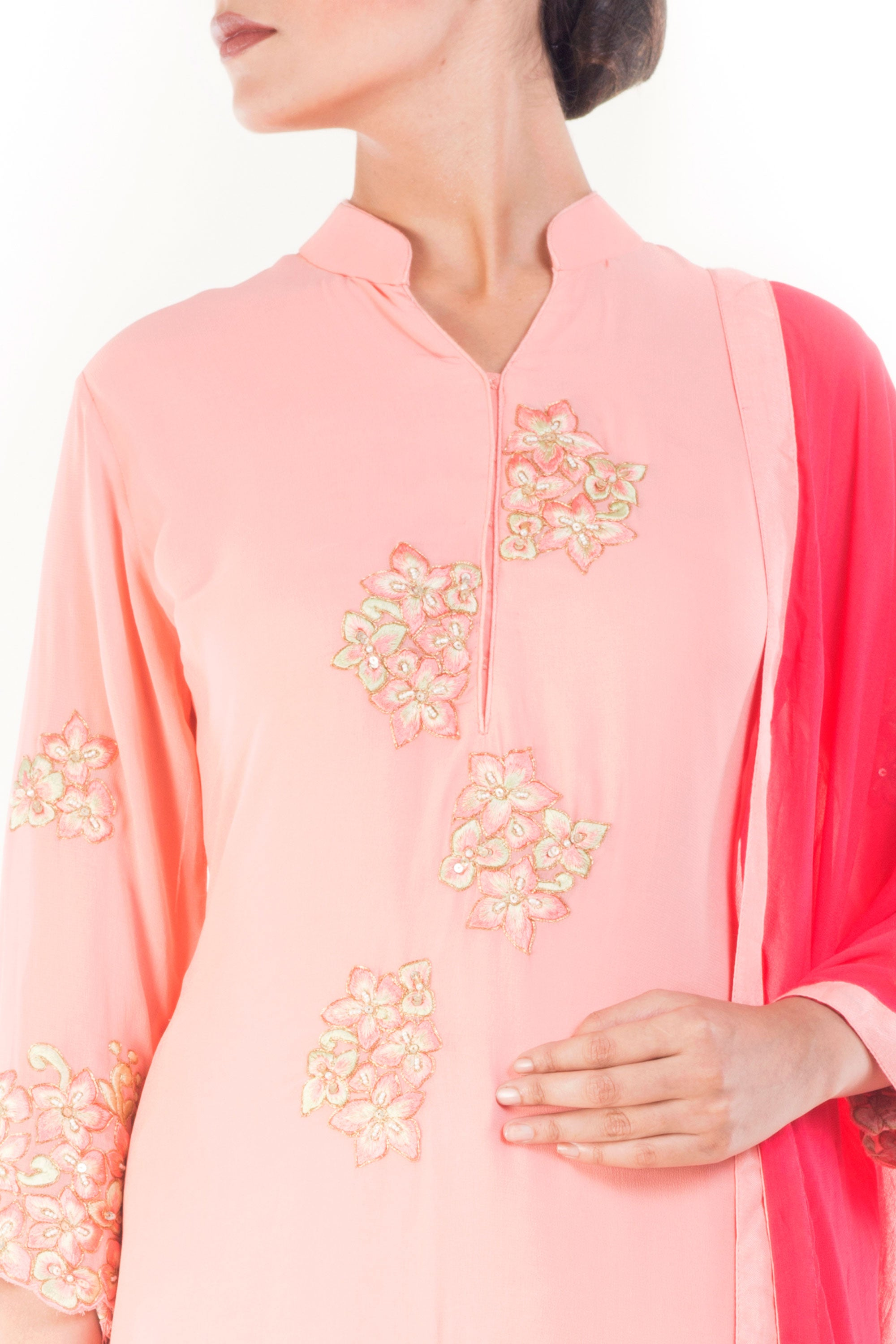 Carnation Pink Salwar Suit Closeup