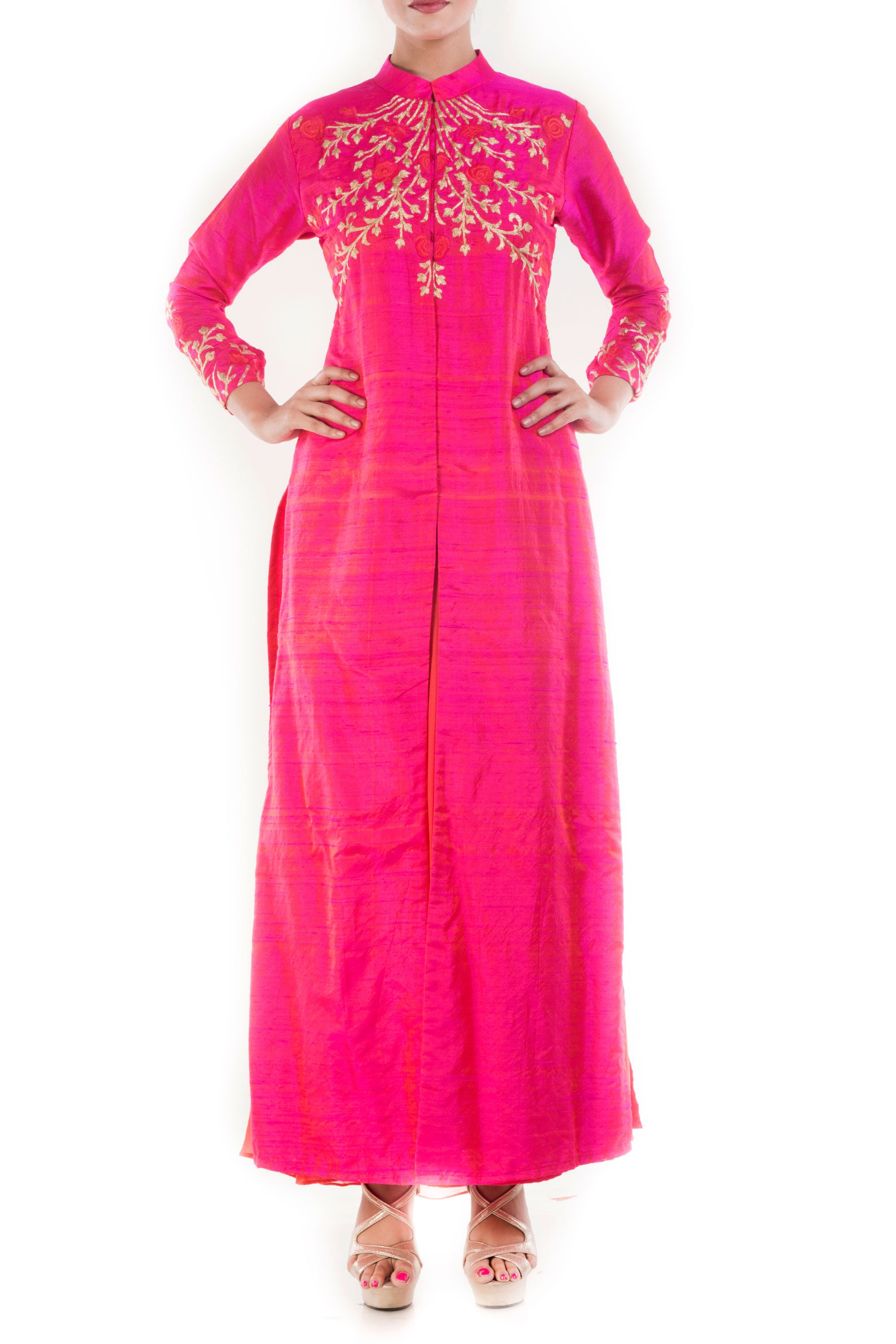 Raspberry Pink High Collar Kurta Front
