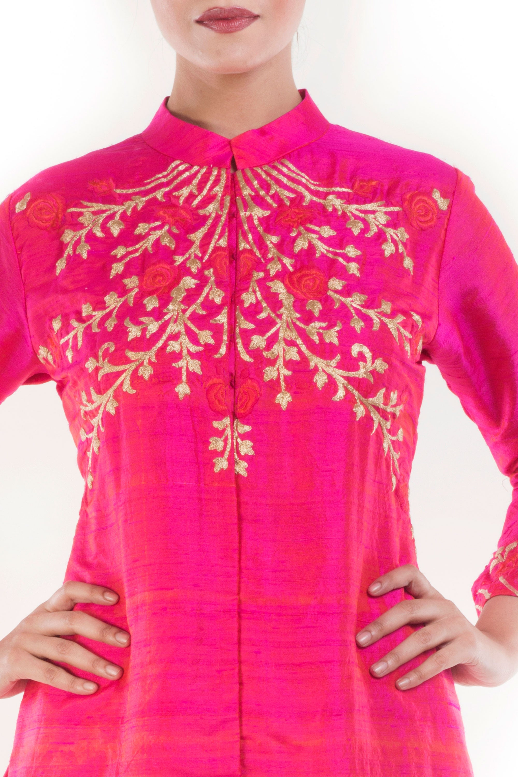 Raspberry Pink High Collar Kurta Closeup