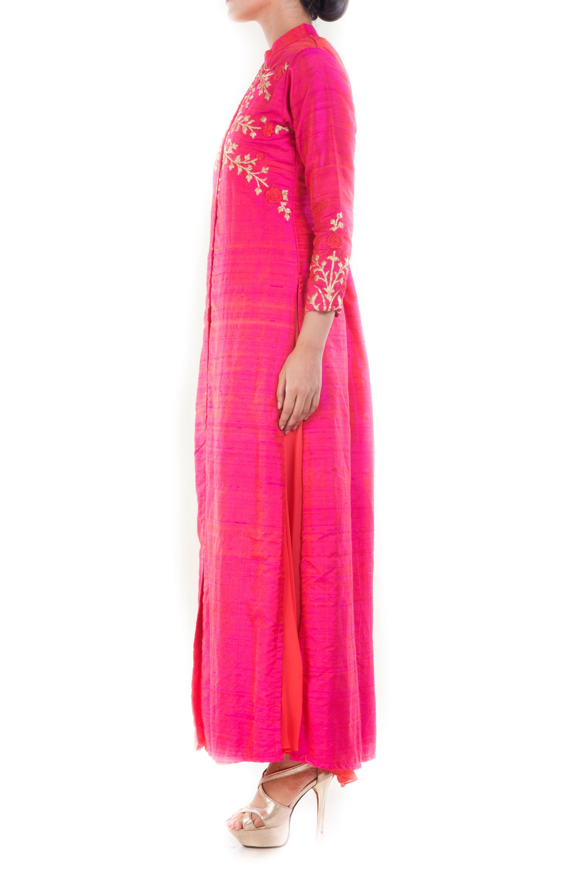 Raspberry Pink High Collar Kurta Side