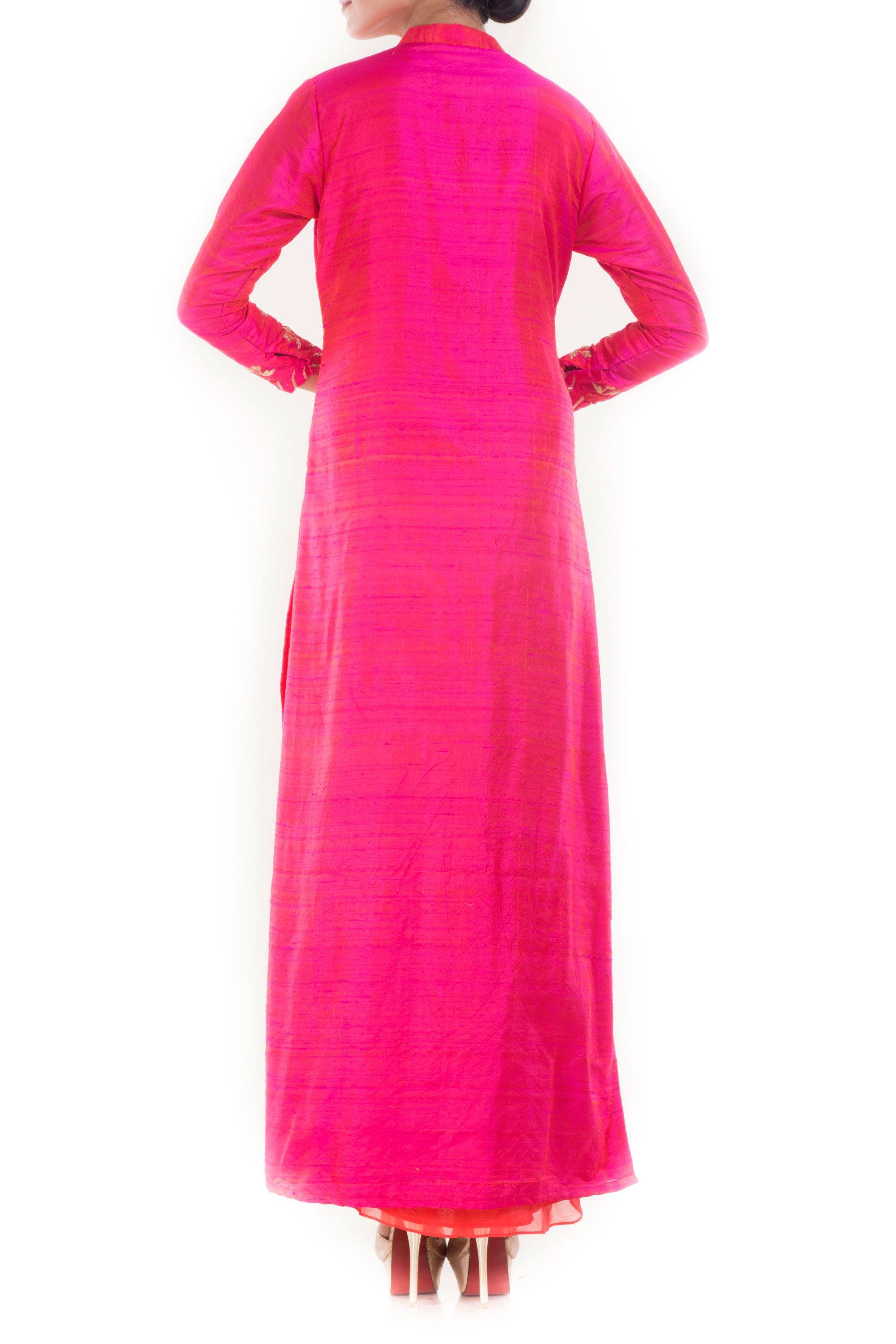 Raspberry Pink High Collar Kurta Back