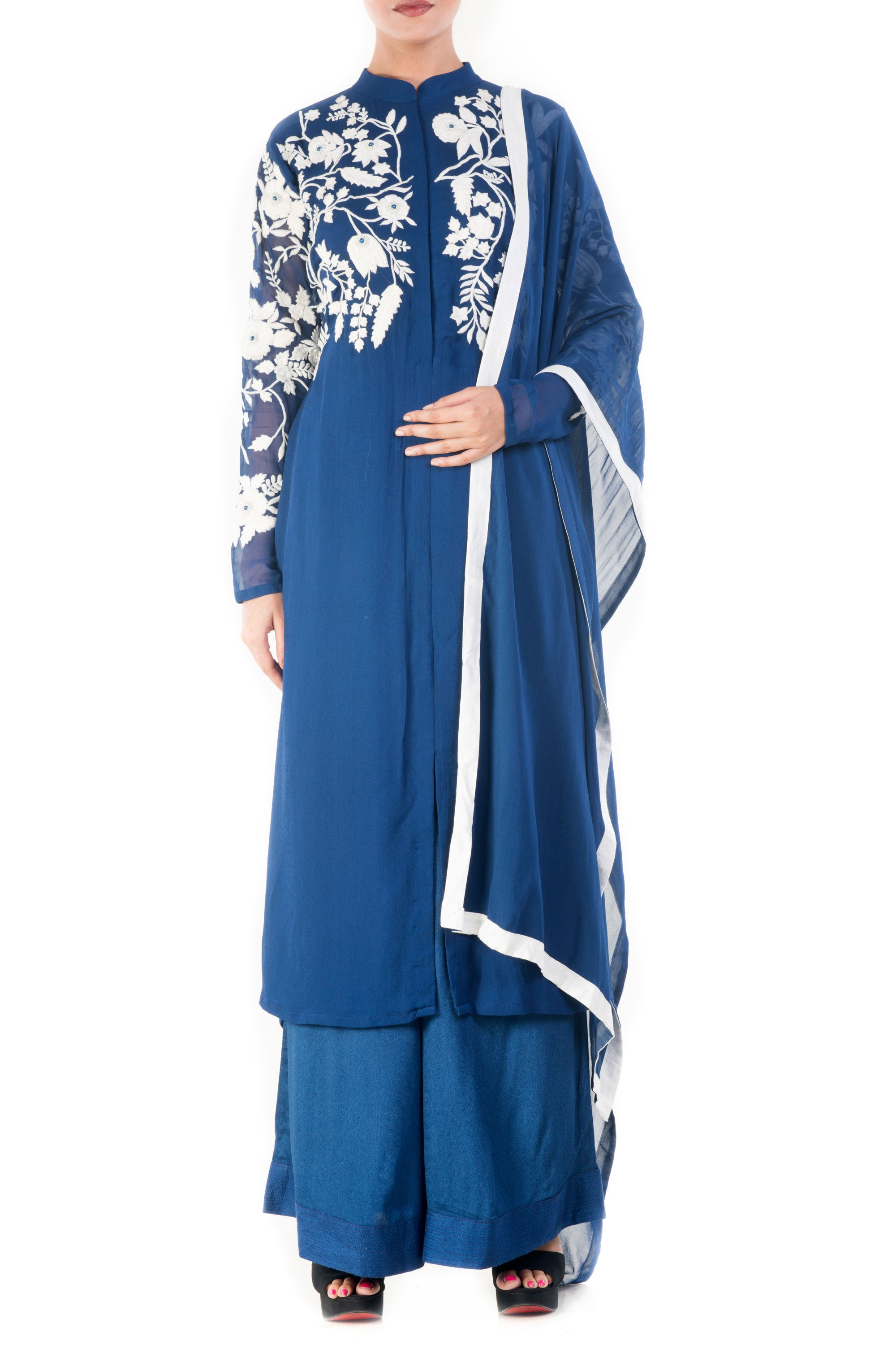 Royal Blue & White Palazzo Set Front