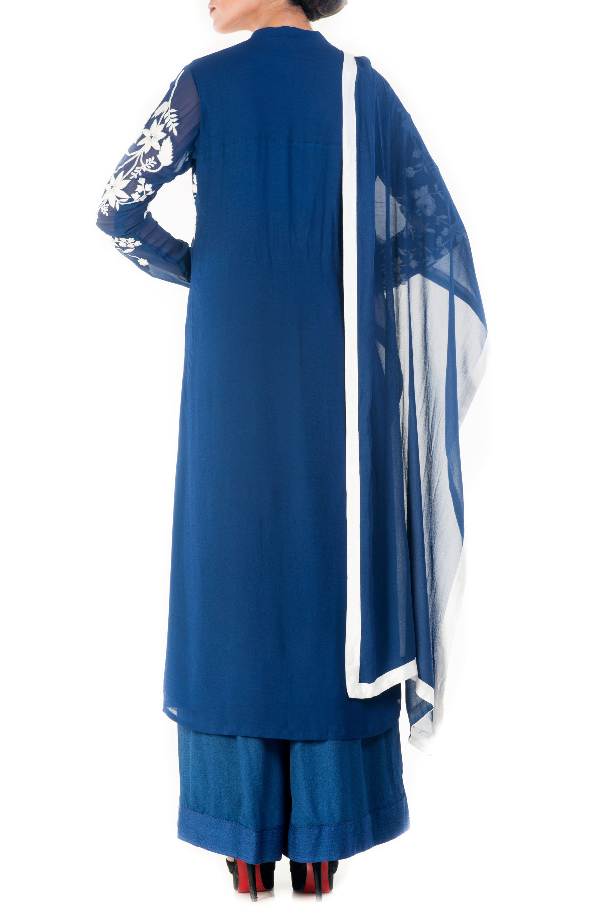 Royal Blue & White Palazzo Set Back